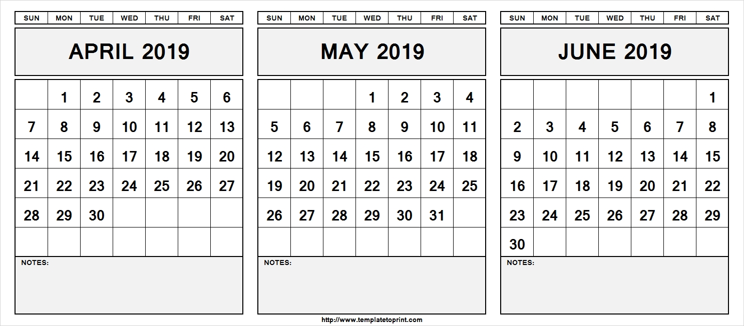 Printable April May June 2019 Calendar With Notes April May June
