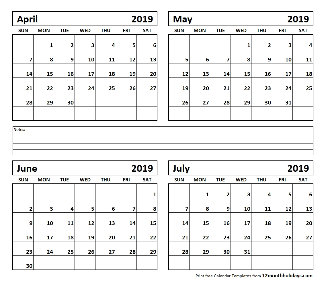 Printable Blank Four Month April May June July 2019 Calendar Template