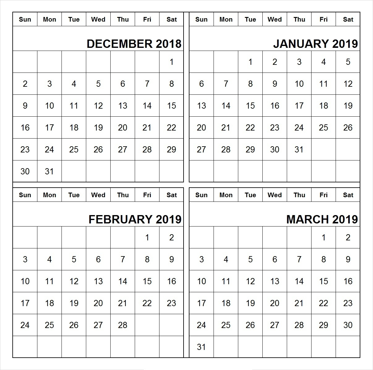 Printable December 2018 January 2019 February 2019 March 2019