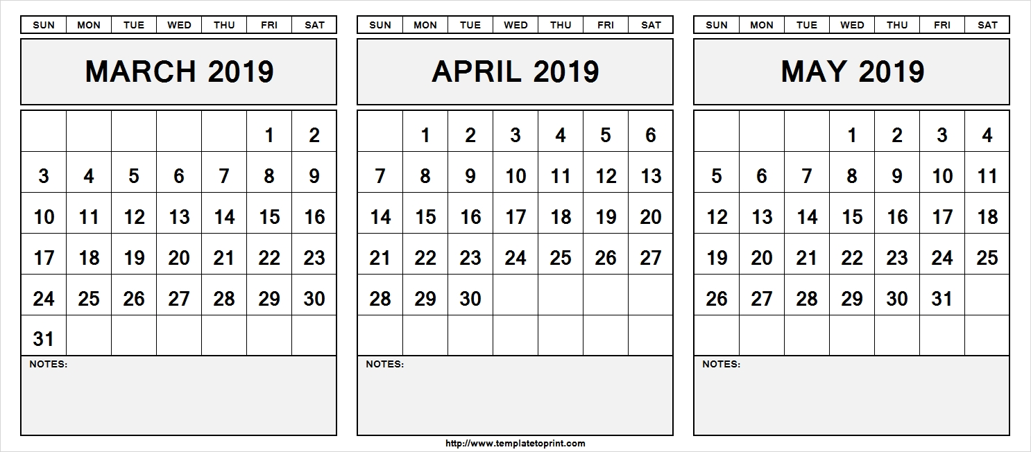 Printable March April May 2019 Calendar With Notes Free Printable
