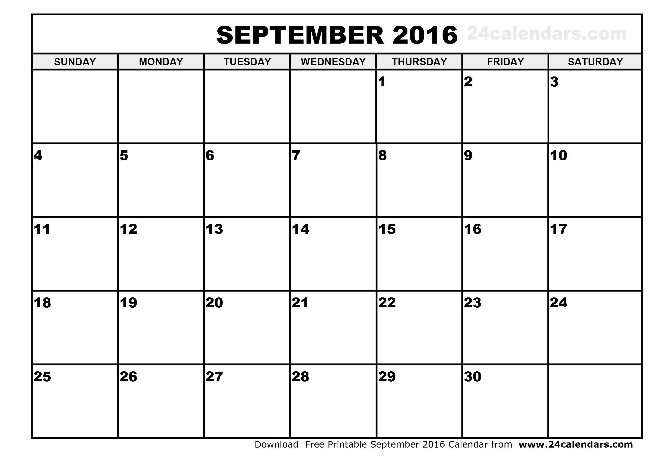 Printable September 2016 Calendar Template Thekpark Hadong