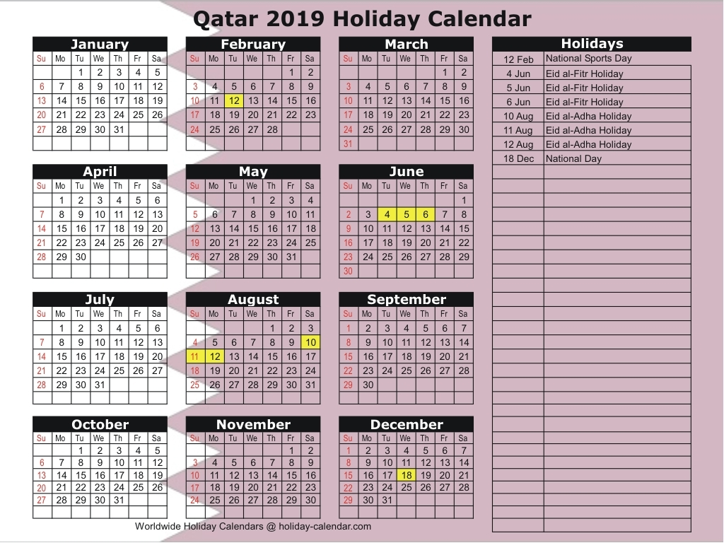Qatar 2019 2020 Holiday Calendar