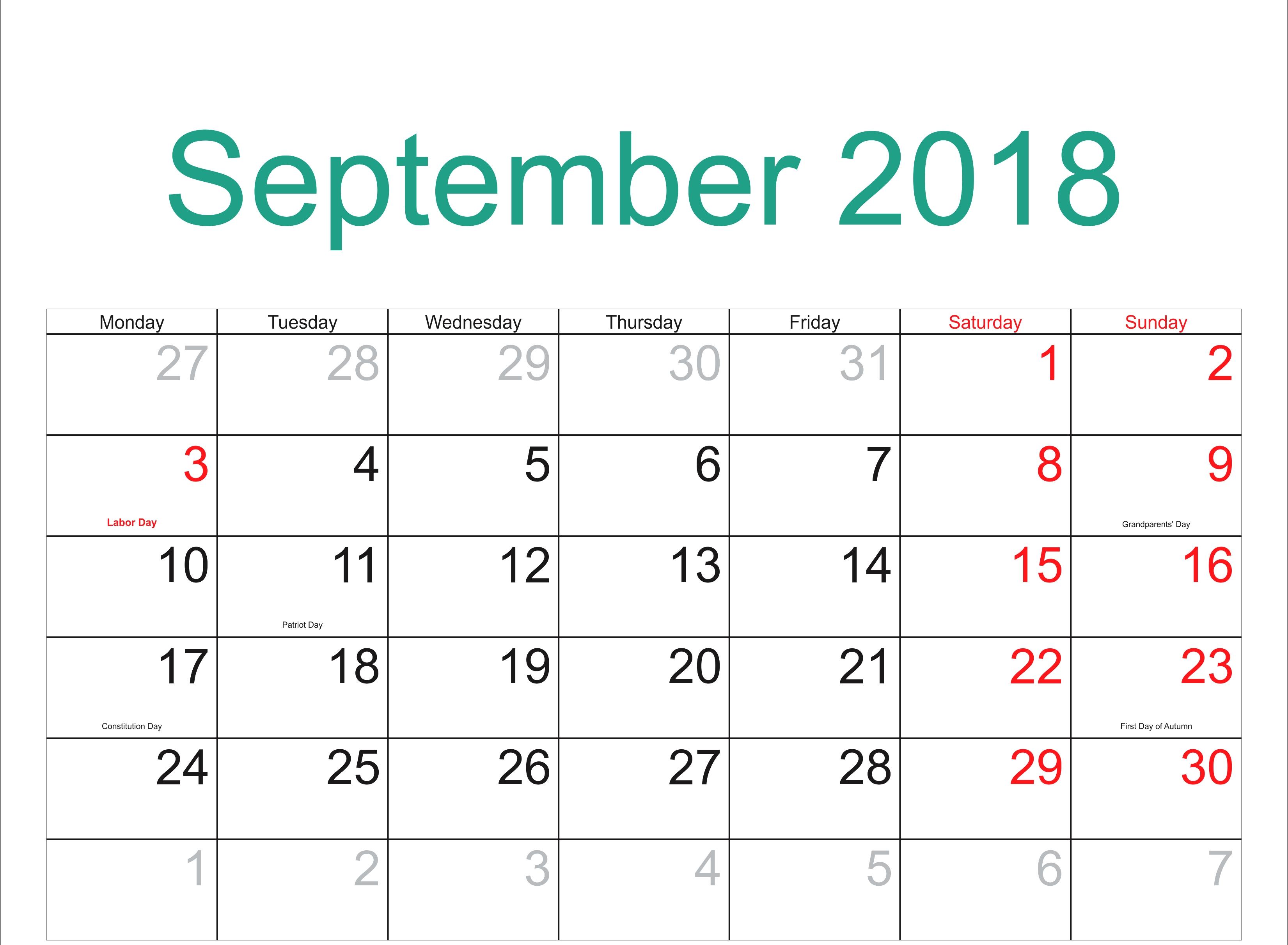 September 2018 Calendar India With Holidays Calendar For September