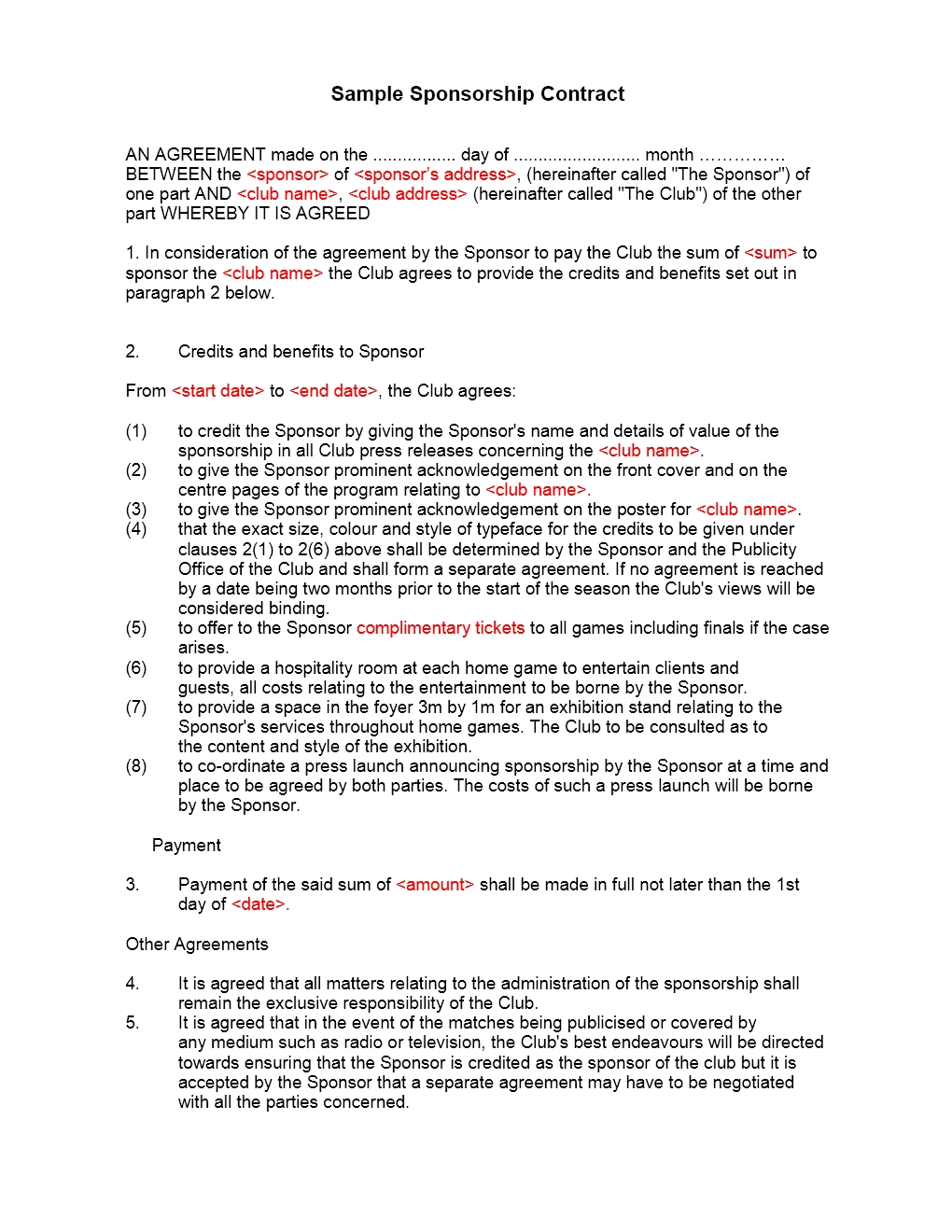 Sponsorship Contract Template
