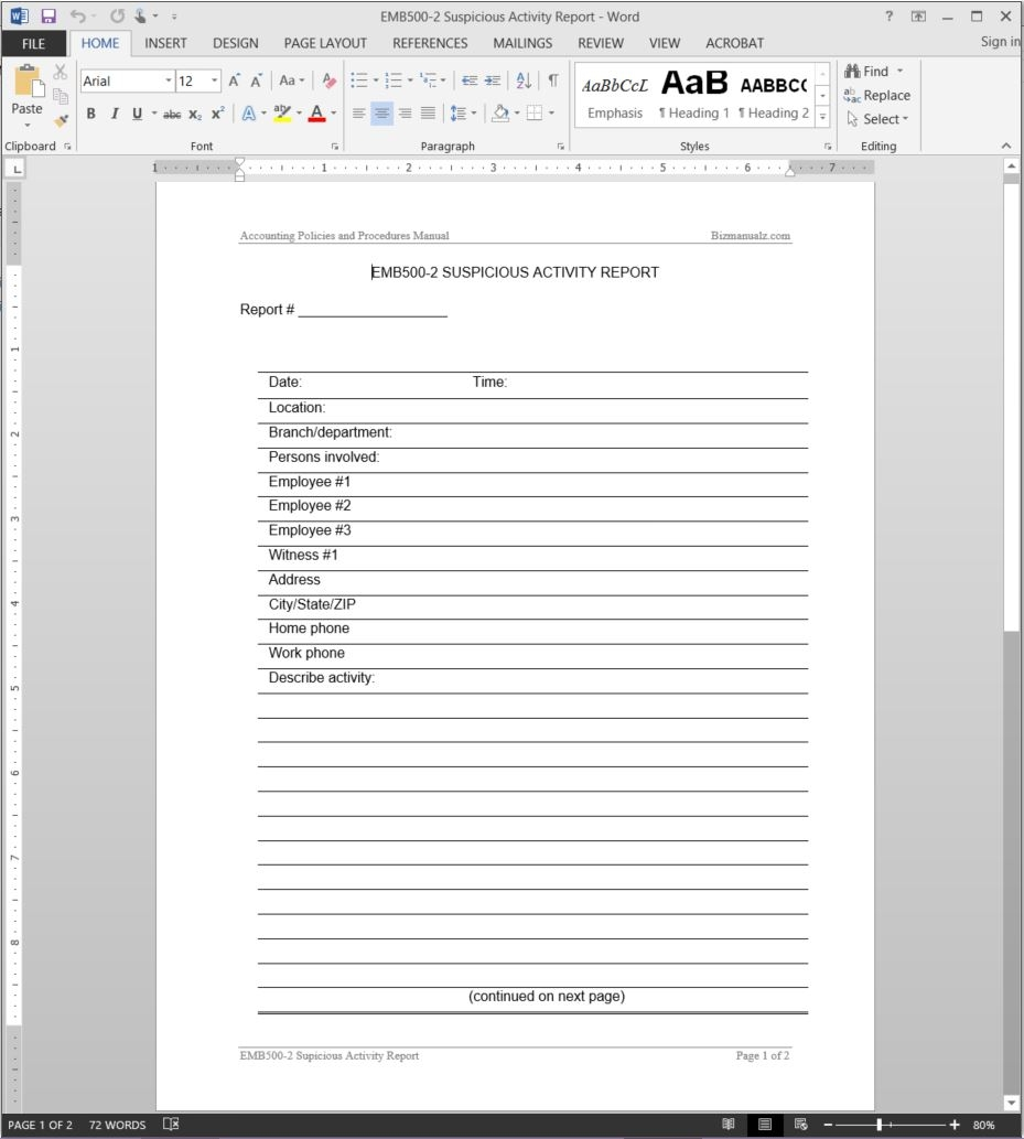 Suspicious Activity Report Template Emb500 2