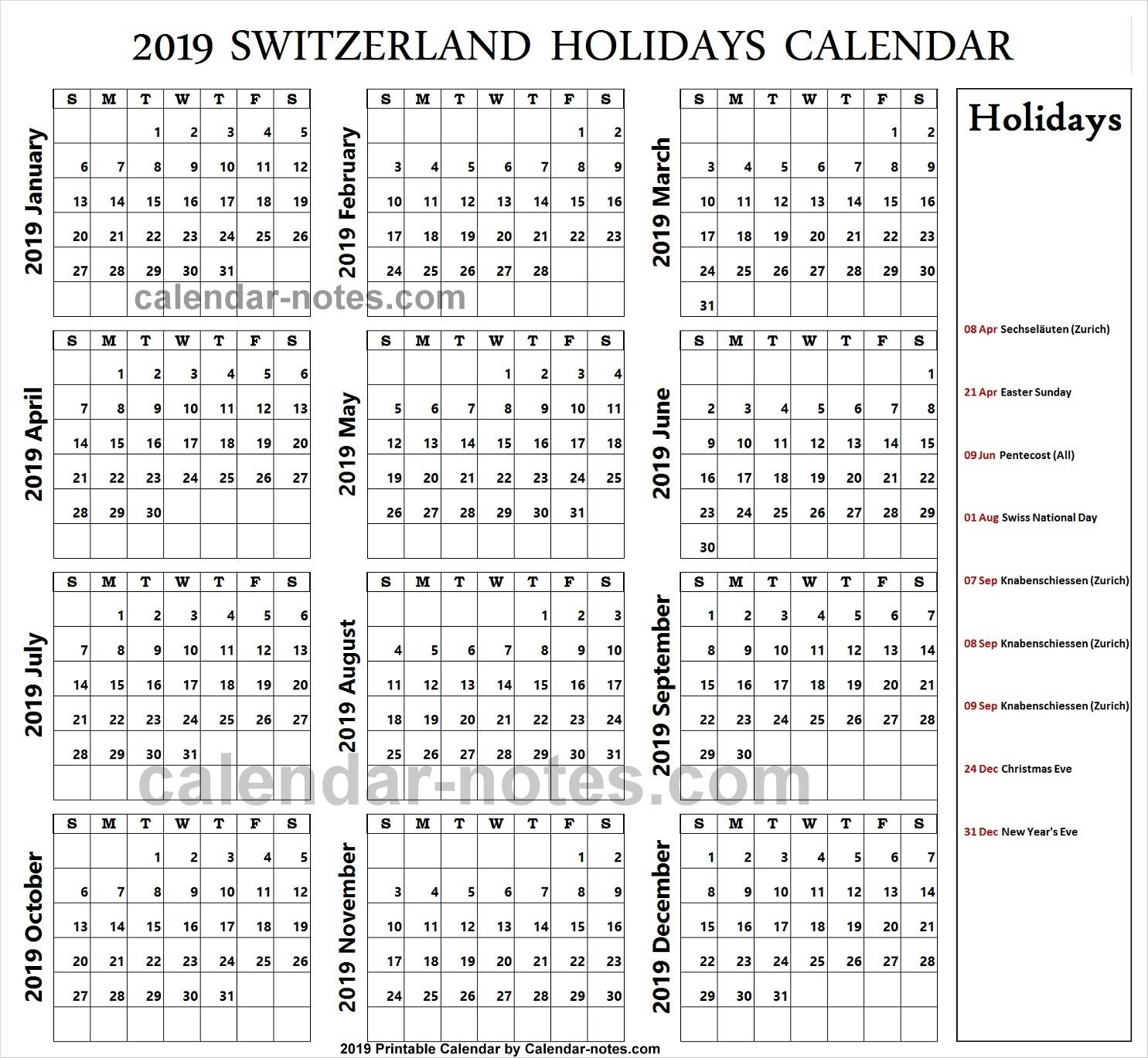 Switzerland Holiday 2019 Calendar 2019 Switzerland Calendar Template