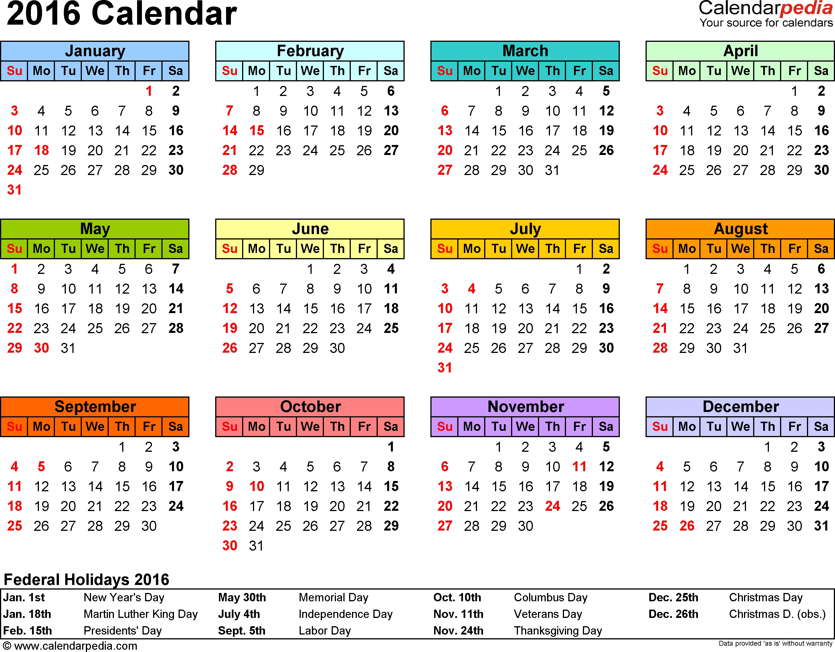 Template 7 2016 Calendar For Pdf Year At A Glance 1 Page In