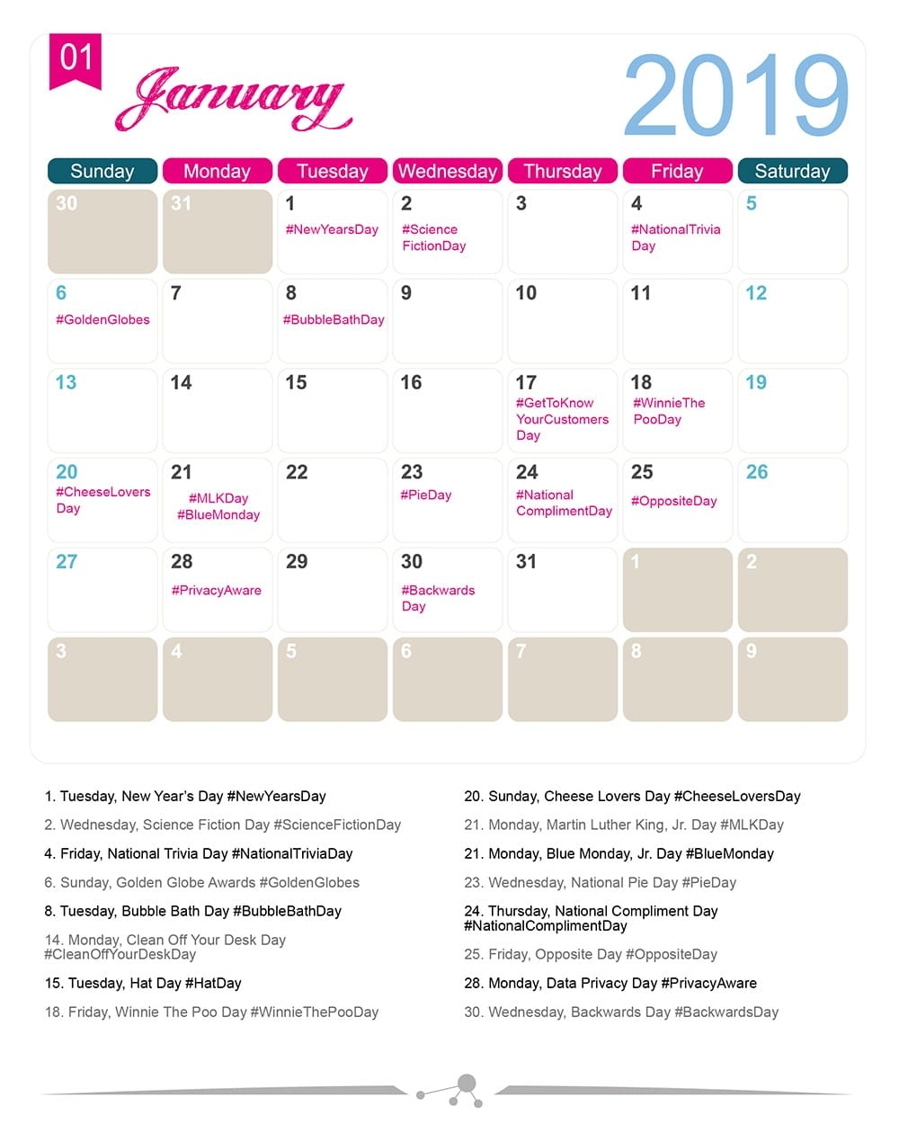 The 2019 Social Media Holiday Calendar Make A Website Hub