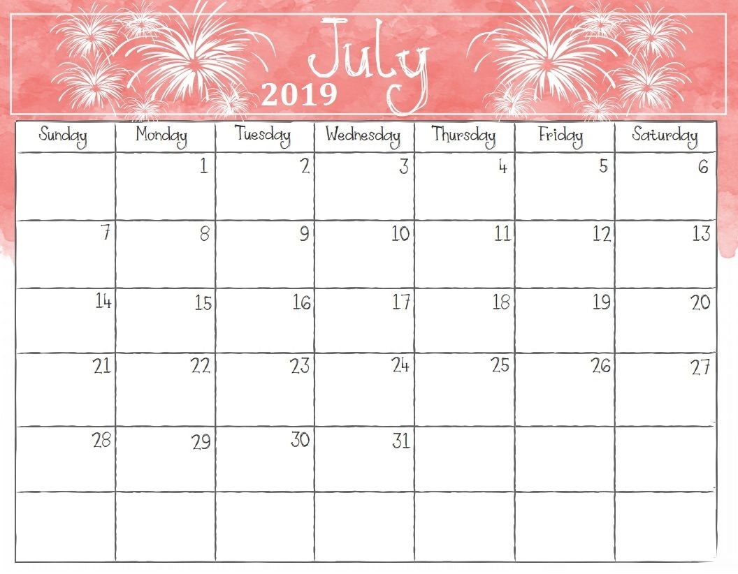 Watercolor July 2019 Calendar Calendar 2018 Calendar 2019