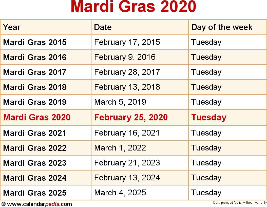 When Is Mardi Gras 2020 2021 Dates Of Mardi Gras