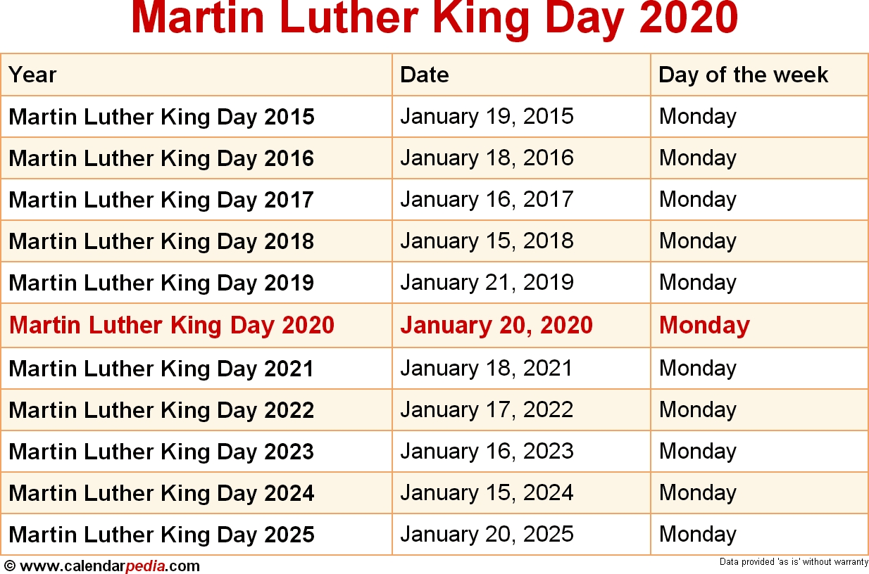 When Is Martin Luther King Day 2020 2021
