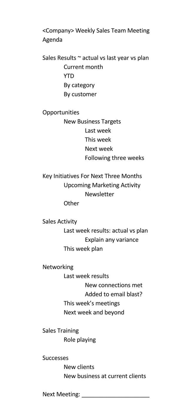 101 Guide Of Weekly Meeting Agenda With Free Templates