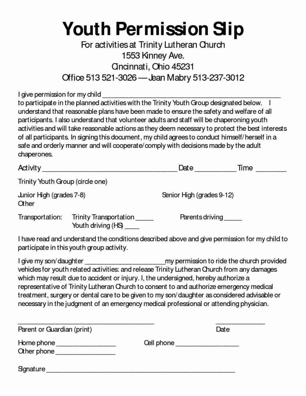 29 Images Of Church Trip Permission Slip Template Evreneter
