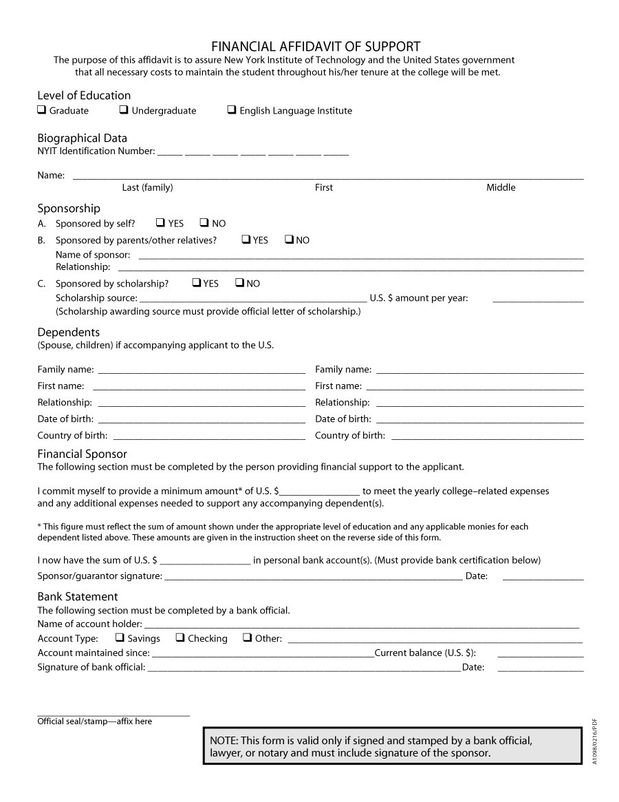 48 Sample Affidavit Forms Templates Affidavit Of Support Form