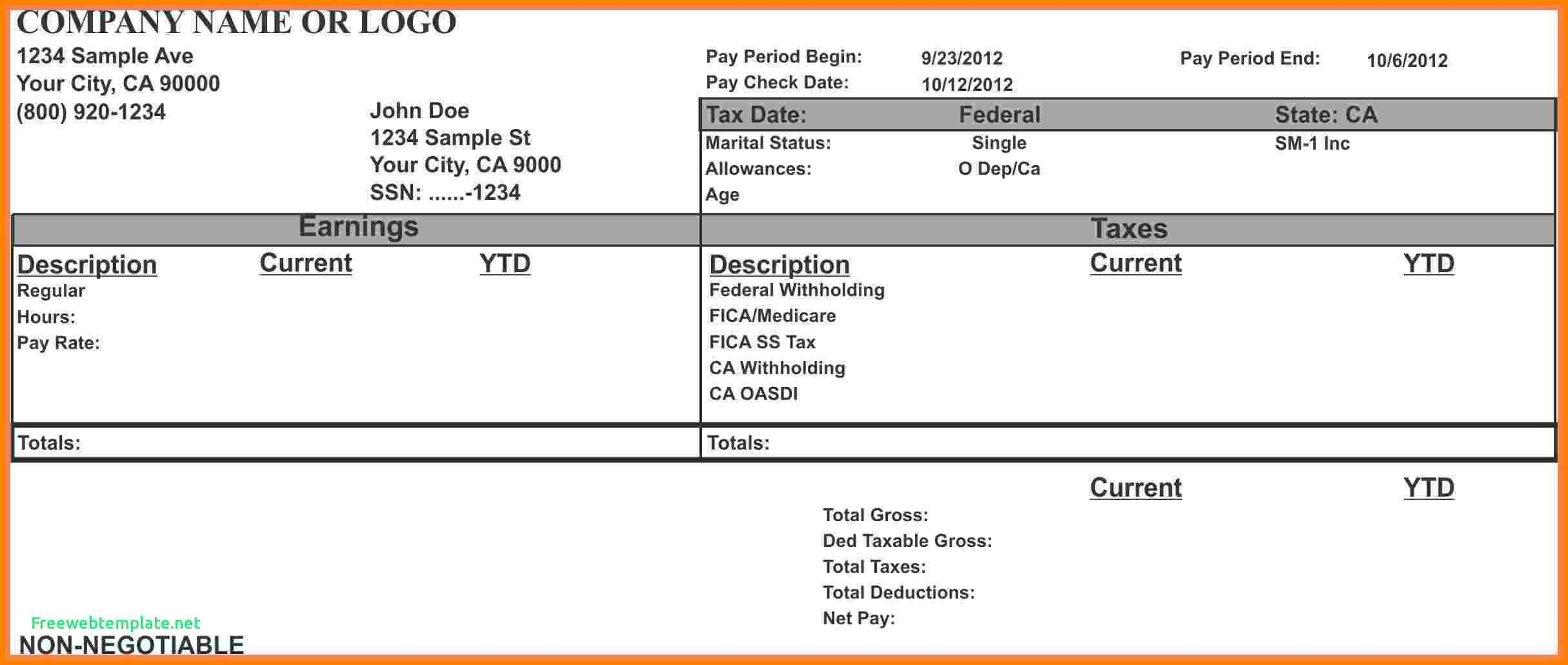 7 Paycheck Stub Template For Excel Samples Of Paystubs