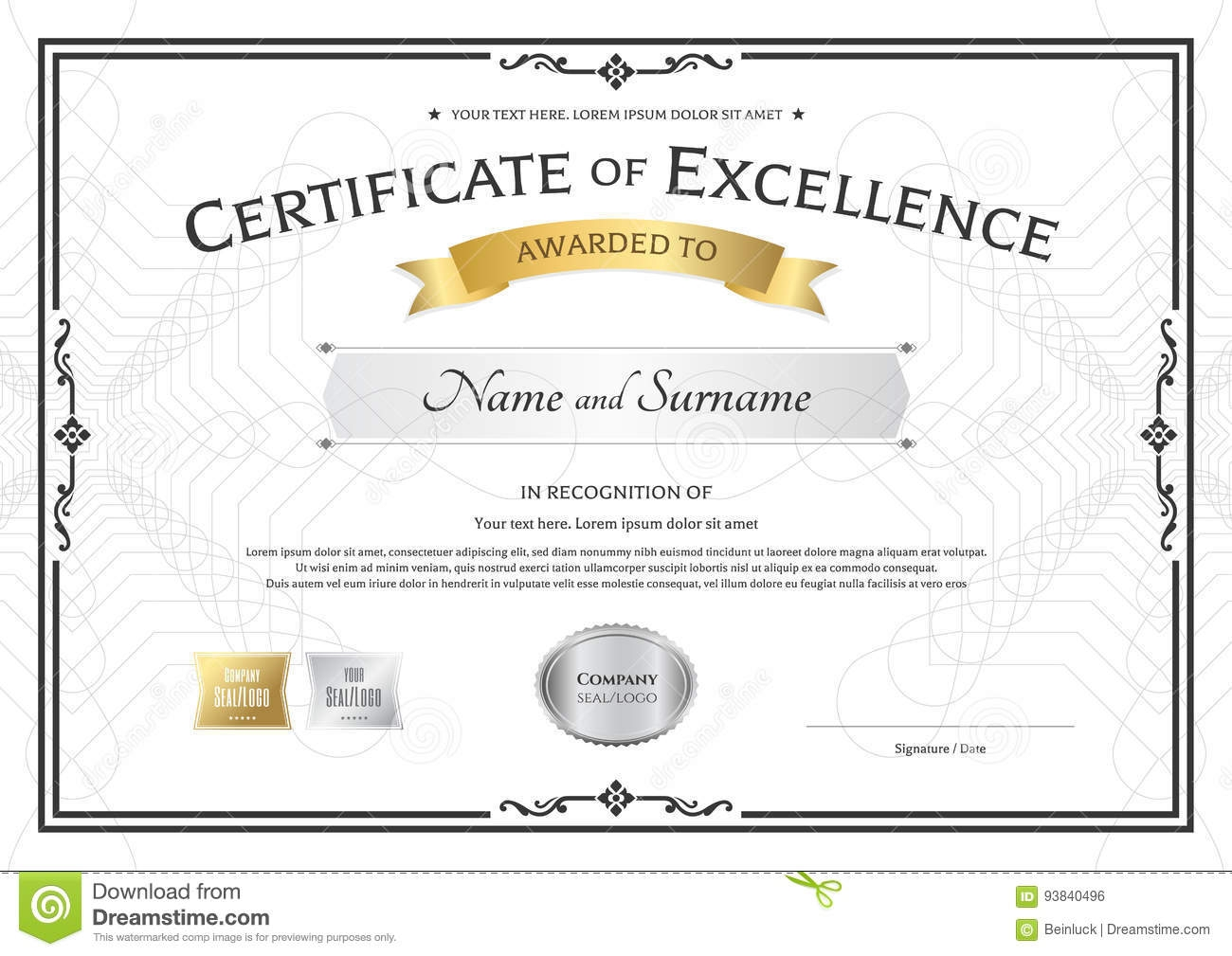 Certificate Of Excellence Template With Gold Award Ribbon On Abs