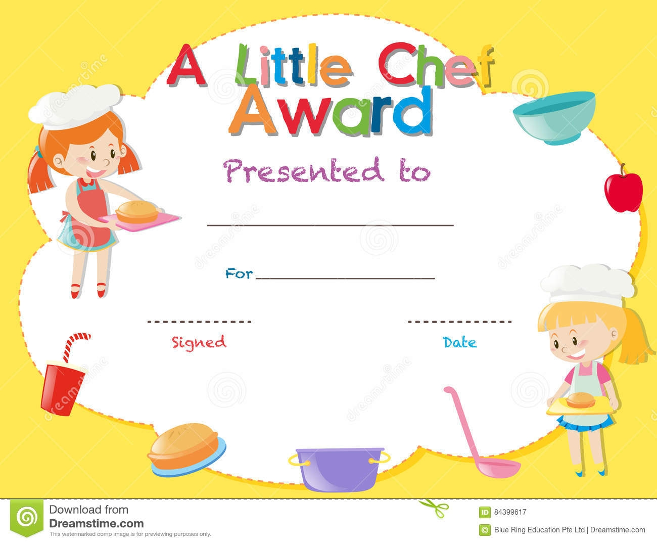 Certificate Template With Kids Cooking Stock Illustration