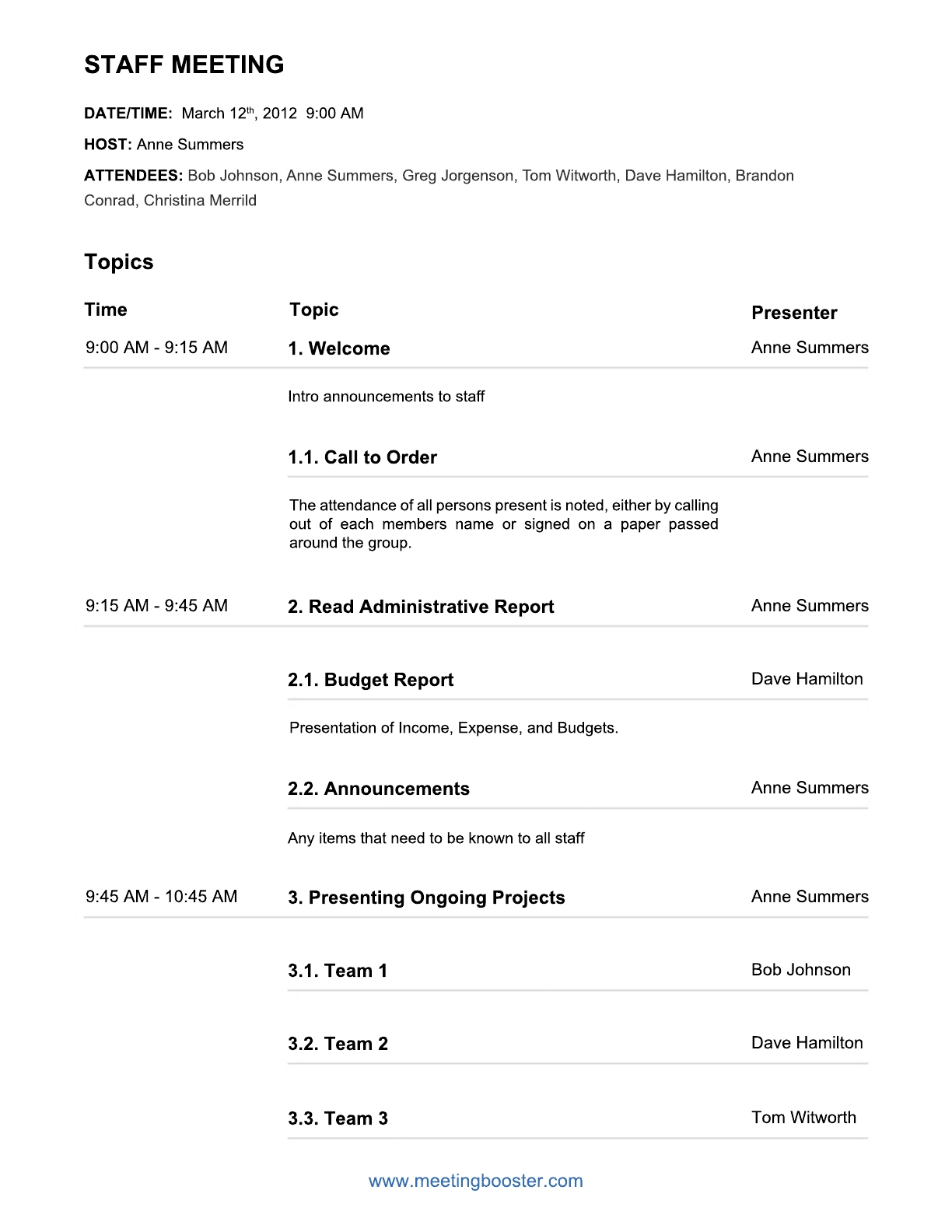 Download Staff Meeting Agenda Template For Free Formtemplate