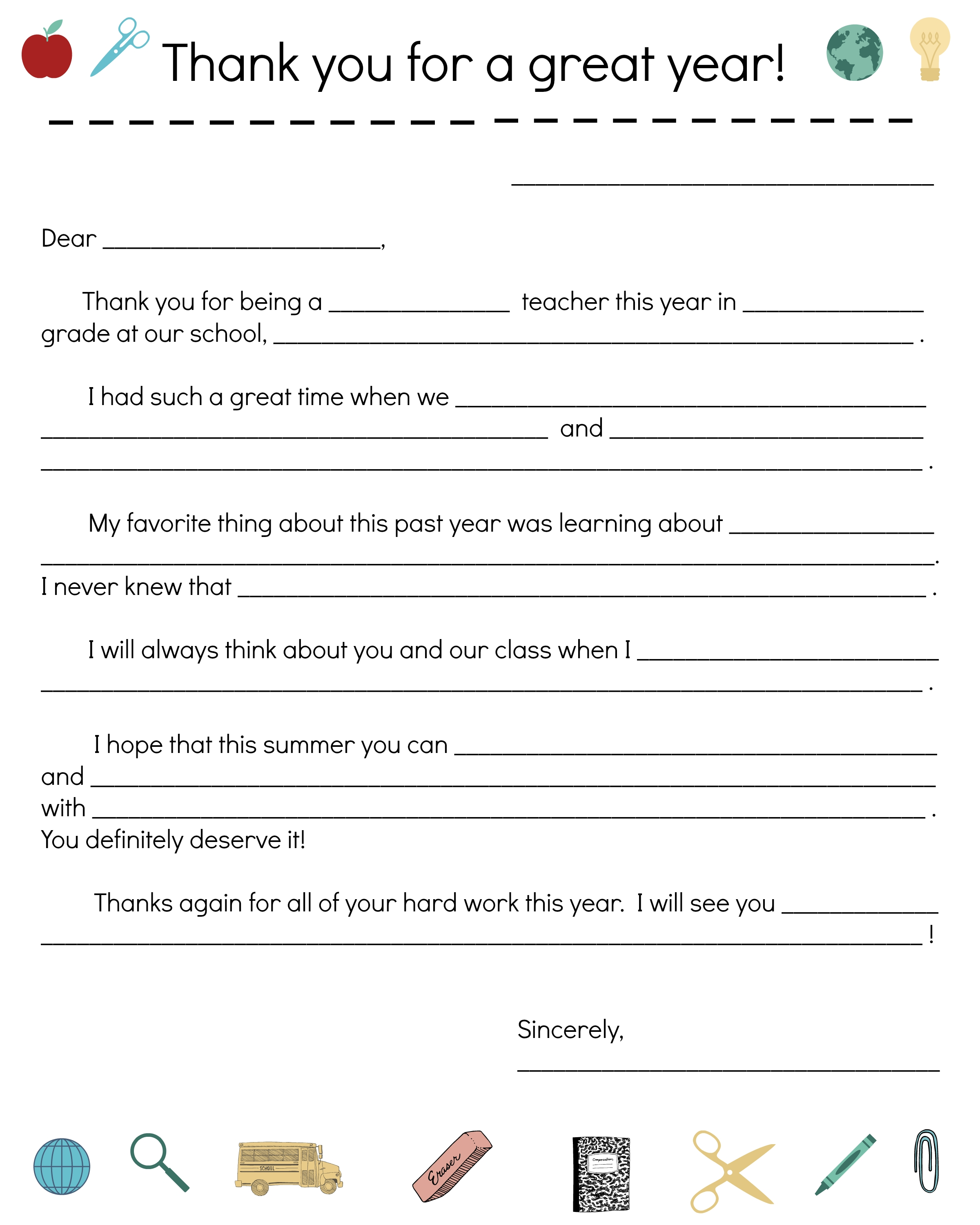 End Of Year Teacher Thank You Note All Things Parenting Teacher