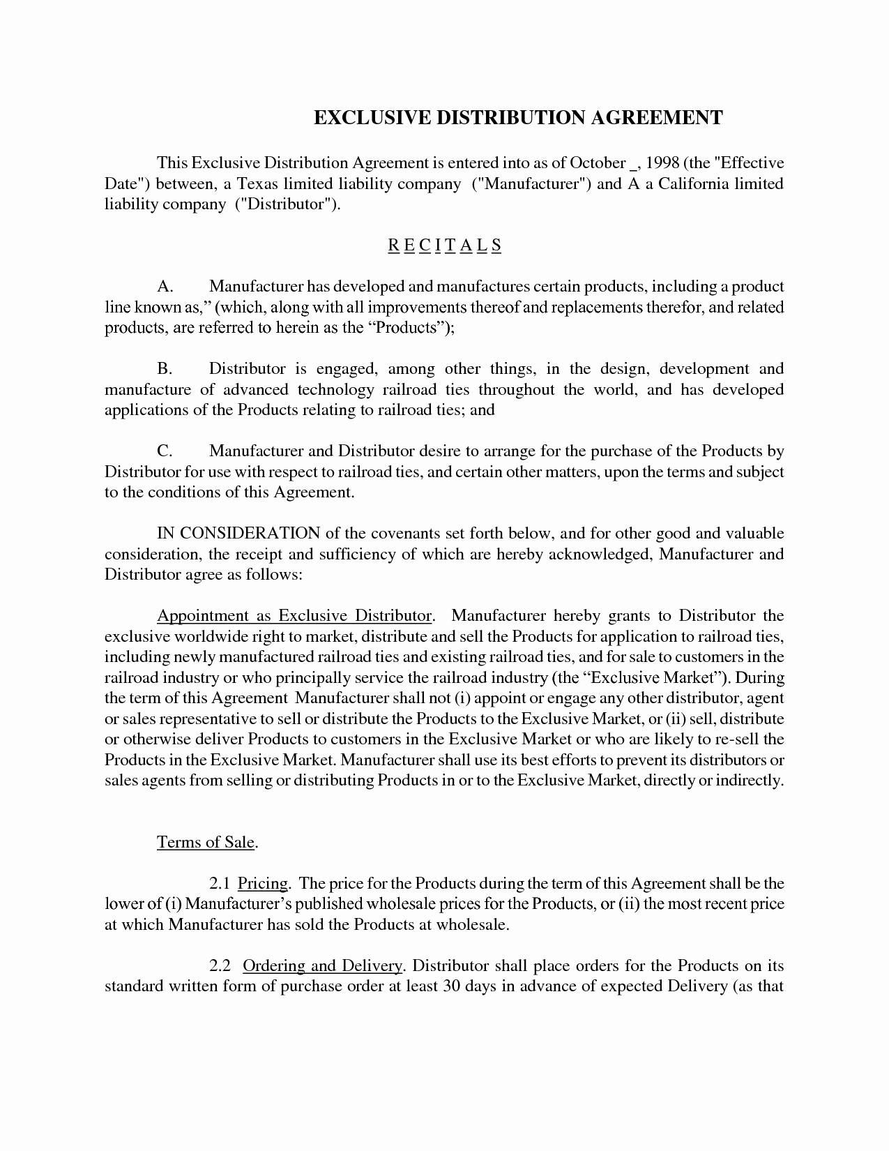 Exclusive Distribution Agreement Template Free Luxury 10 Best Of