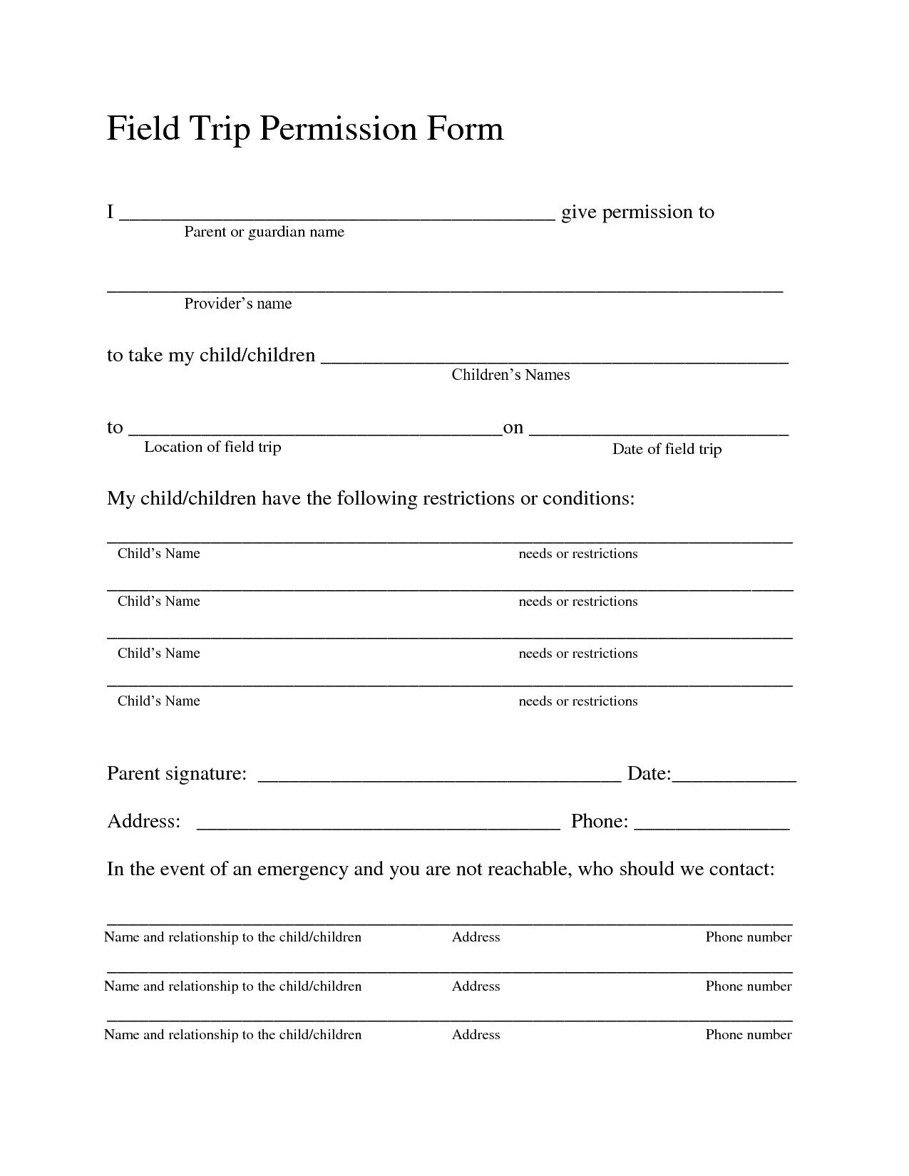 Field Trip Permission Forms Field Trip Permission Slip Field Trip