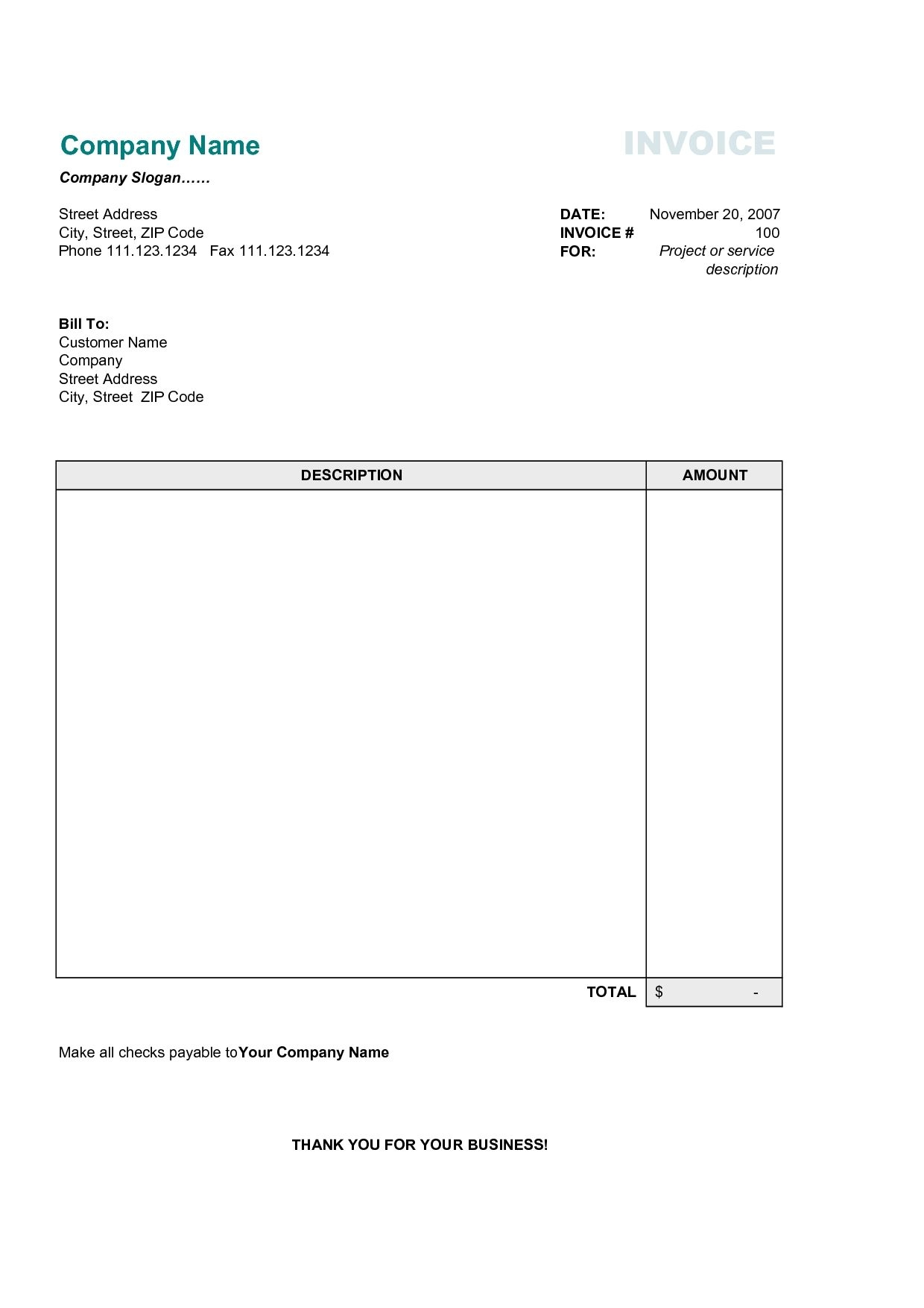 Free Business Invoice Template Best Business Template Free Invoice