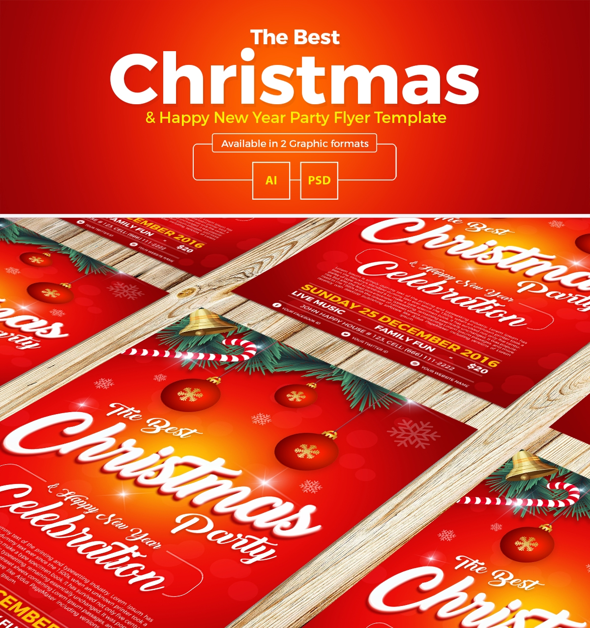 Free Christmas Happy New Year Party Flyer Template In Ai Psd Format