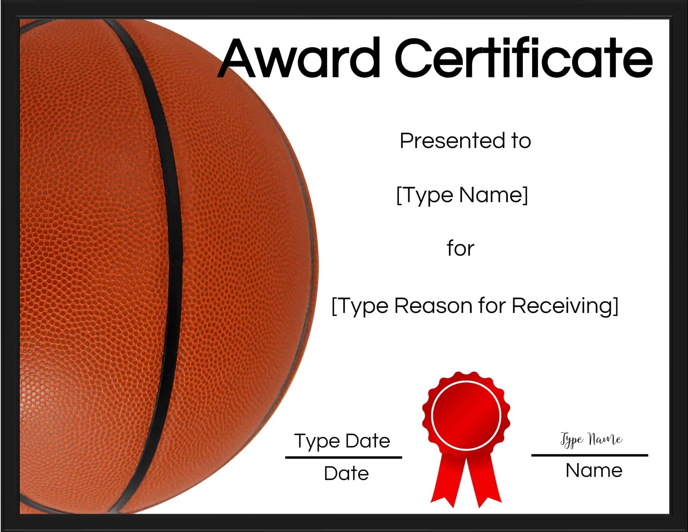 Free Printable Basketball Certificates Customize Online