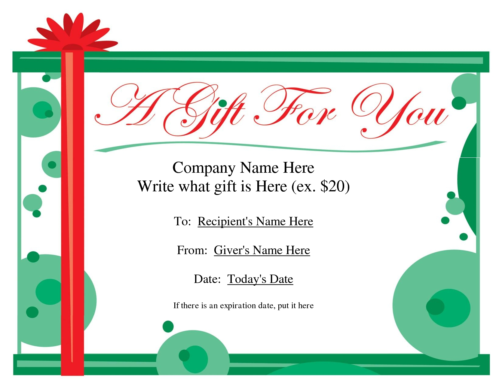 Free Printable Gift Certificate Template Free Christmas Gift