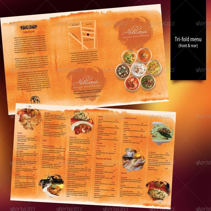 Indian Restaurant Menu Set A4 Trifold Raja Restaurant Menu