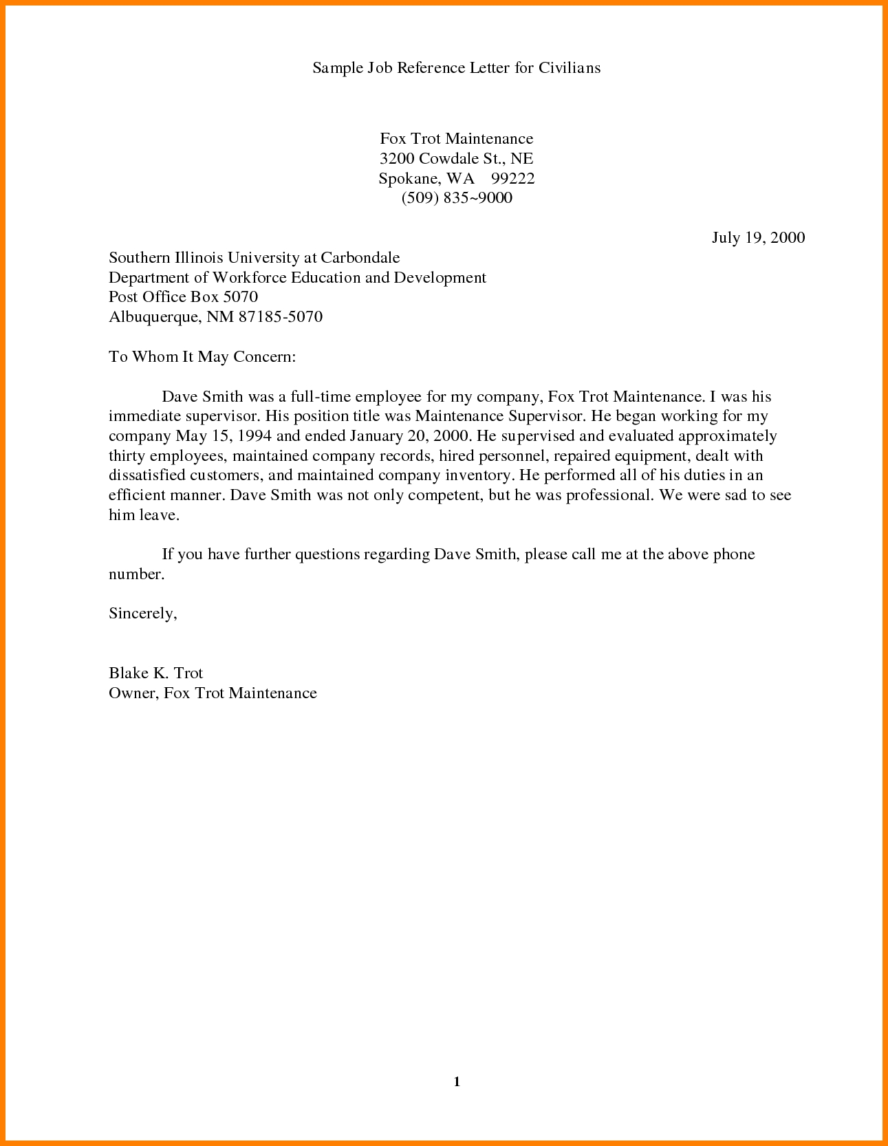 Job Reference Letter Model Character Reference Letter Sample And