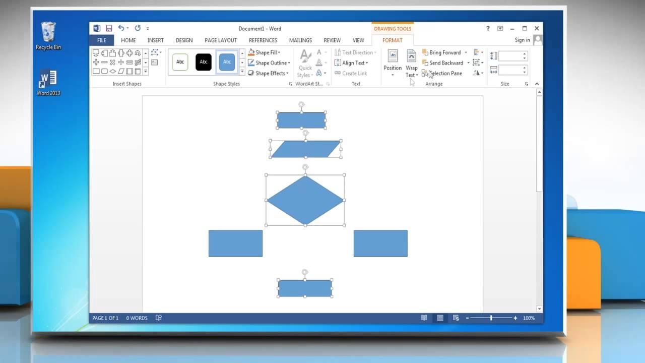 Make A Flowchart In Microsoft Word 2013 Youtube