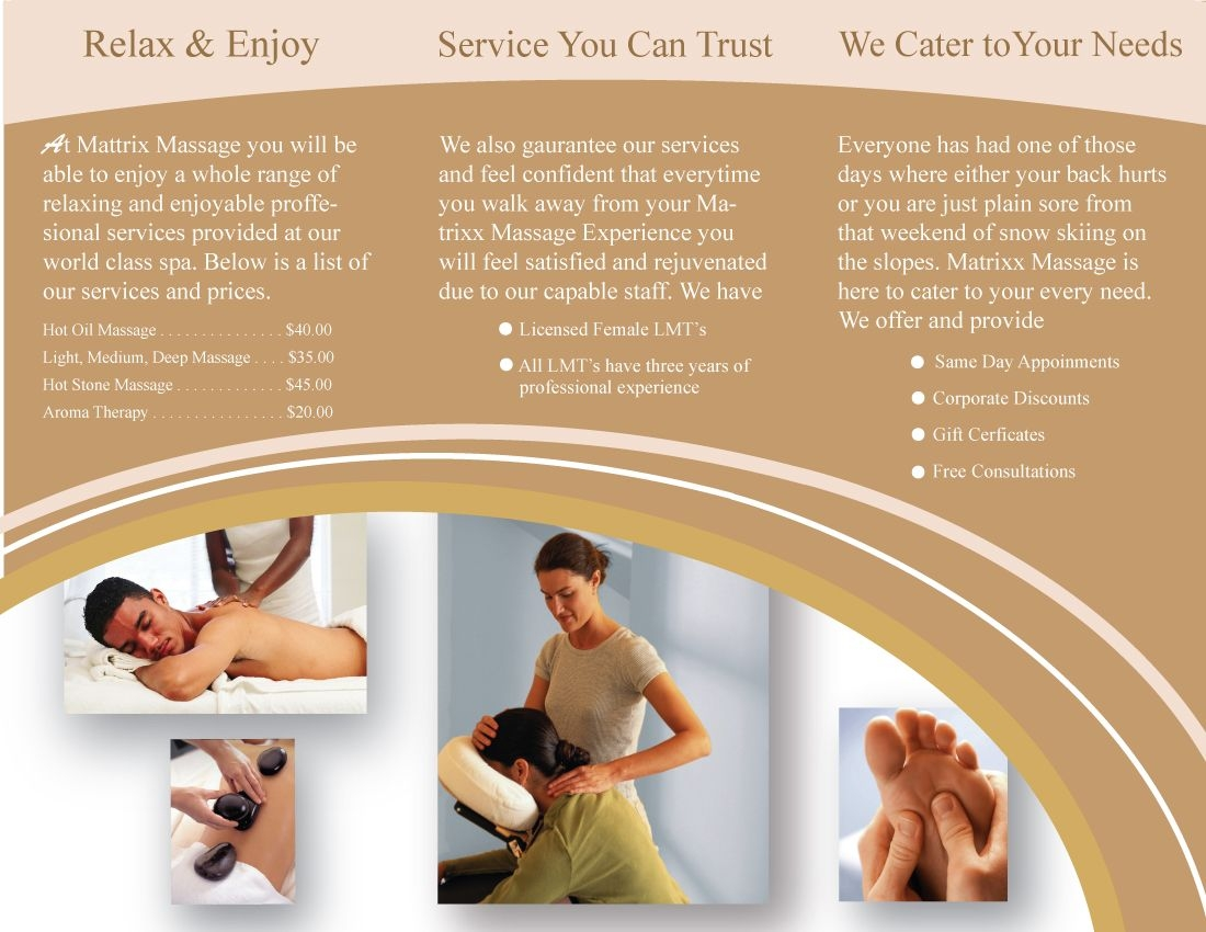Massage Therapy Brochures Massage Brochure Continued Danstosich