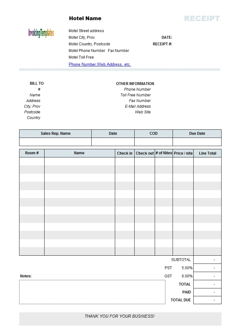 Printed Hotel Receipt Template Recipes To Cook Invoice Template