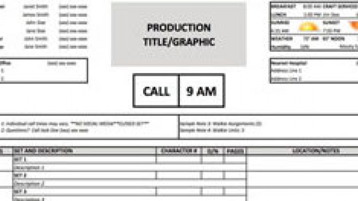 Production Call Sheet Template Excel Canasbergdorfbibco