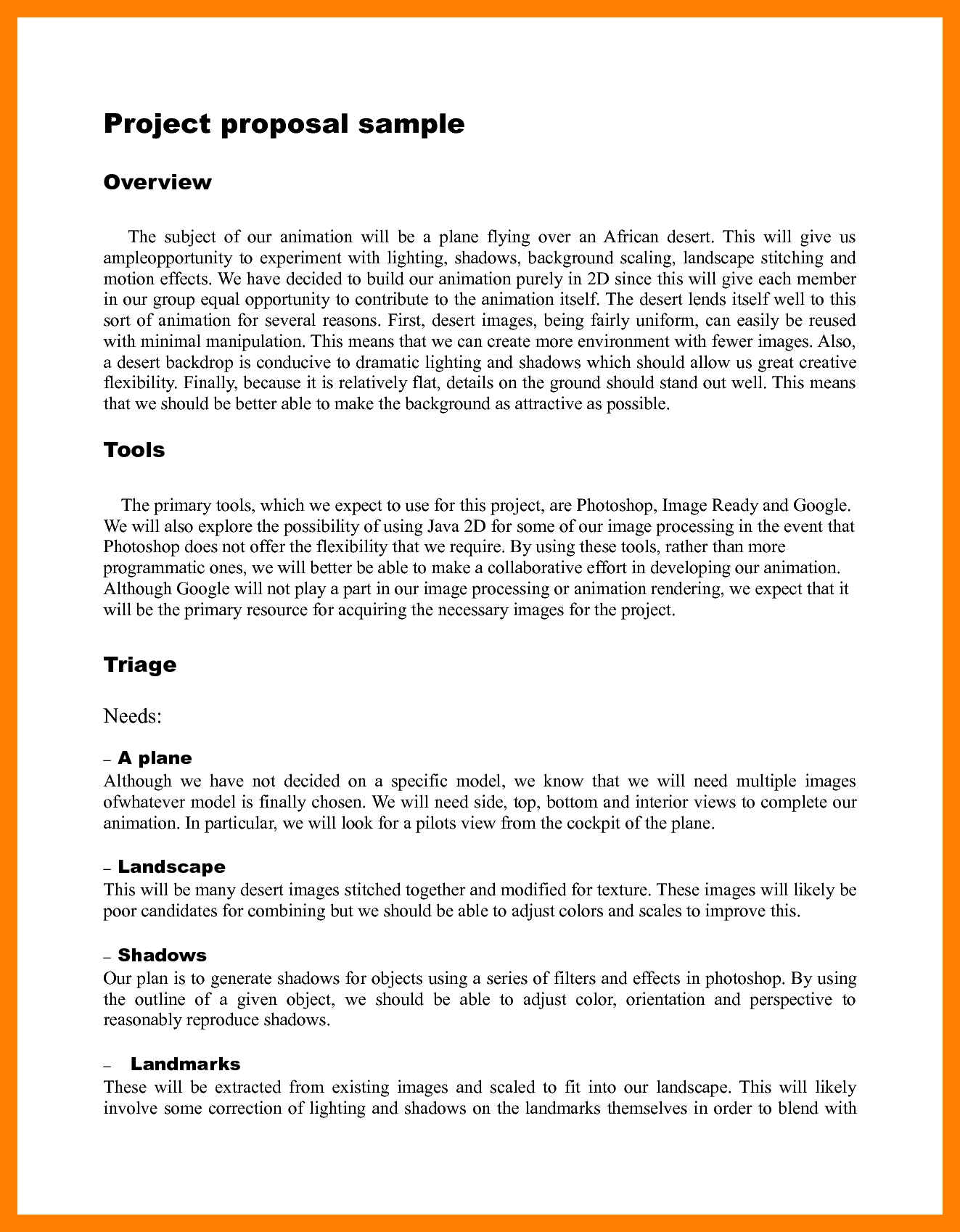 Simple Project Proposal Example Template Project Proposal
