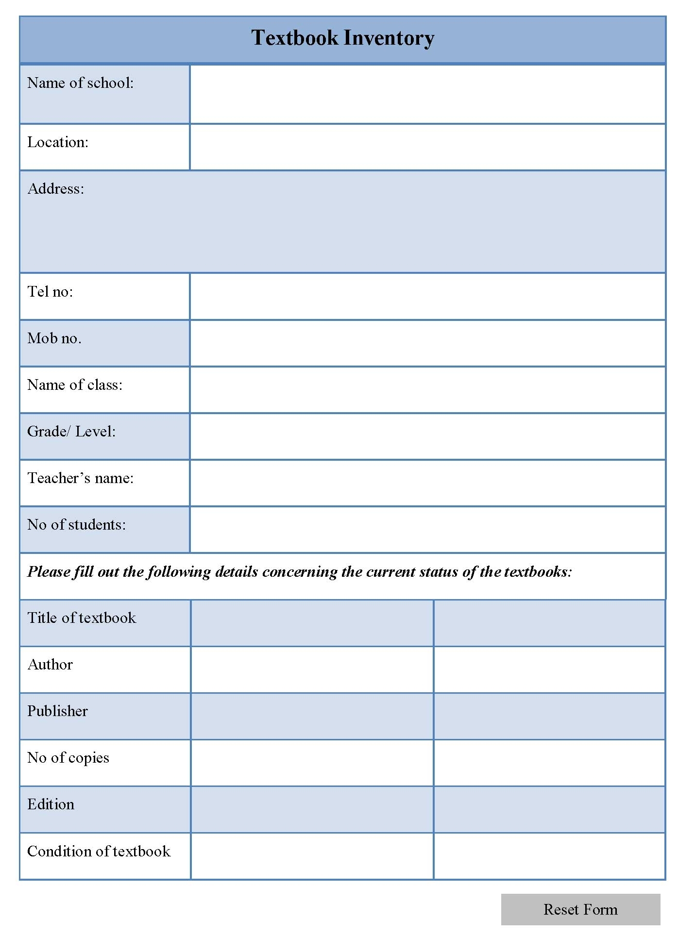 Textbook Inventory Form Editable Forms