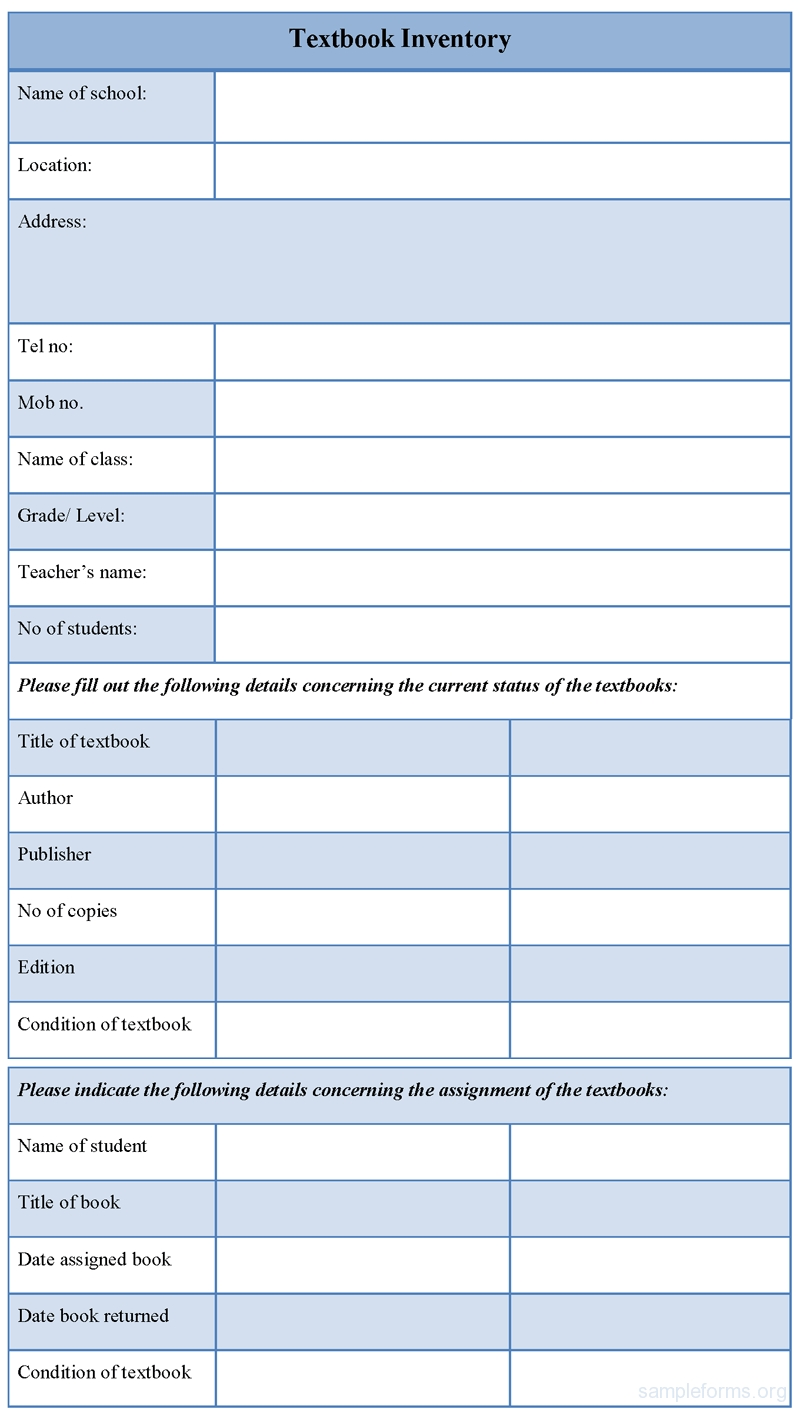 Textbook Inventory Form Sample Forms