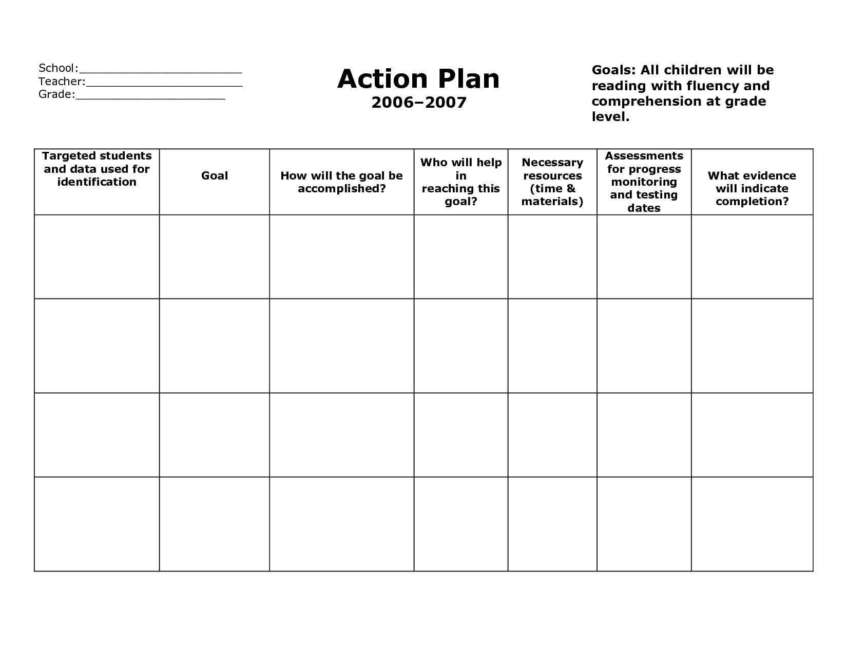 Weekly Plan Book Templates For Teachers School Action Plan
