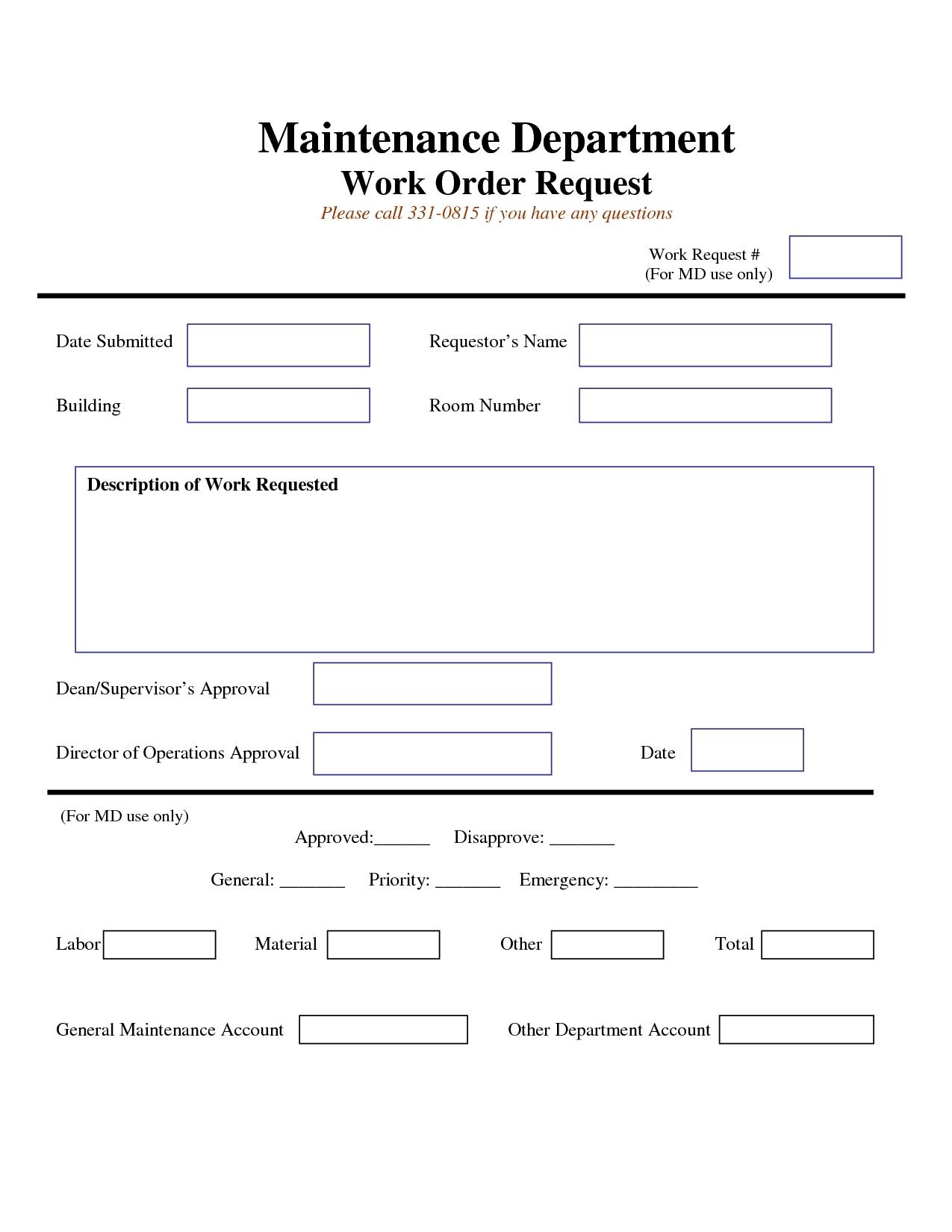 Work Request Form Maintenance Work Order Request Form Work