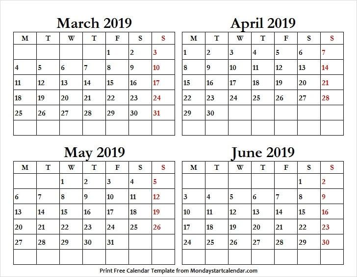4 Month Calendar March June 2019 Four Months Calendar