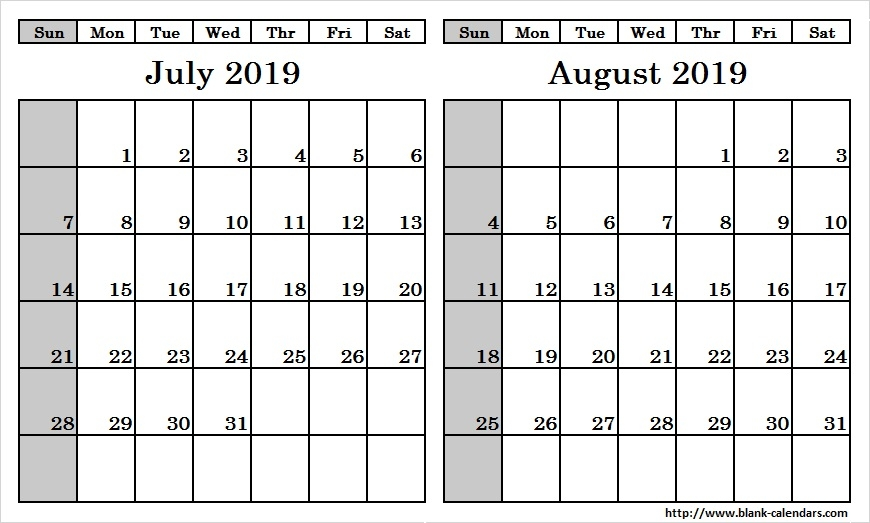 Blank Two Month July August 2019 Calendar Printable Template