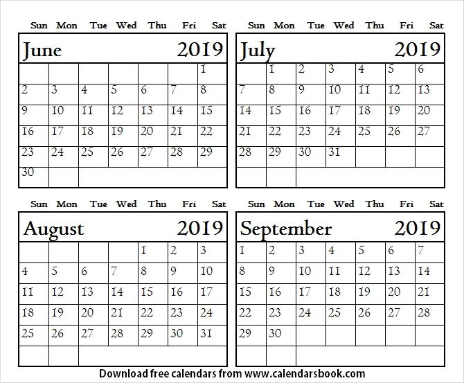 June To September 2019 Blank Calendar Four Month Calendar