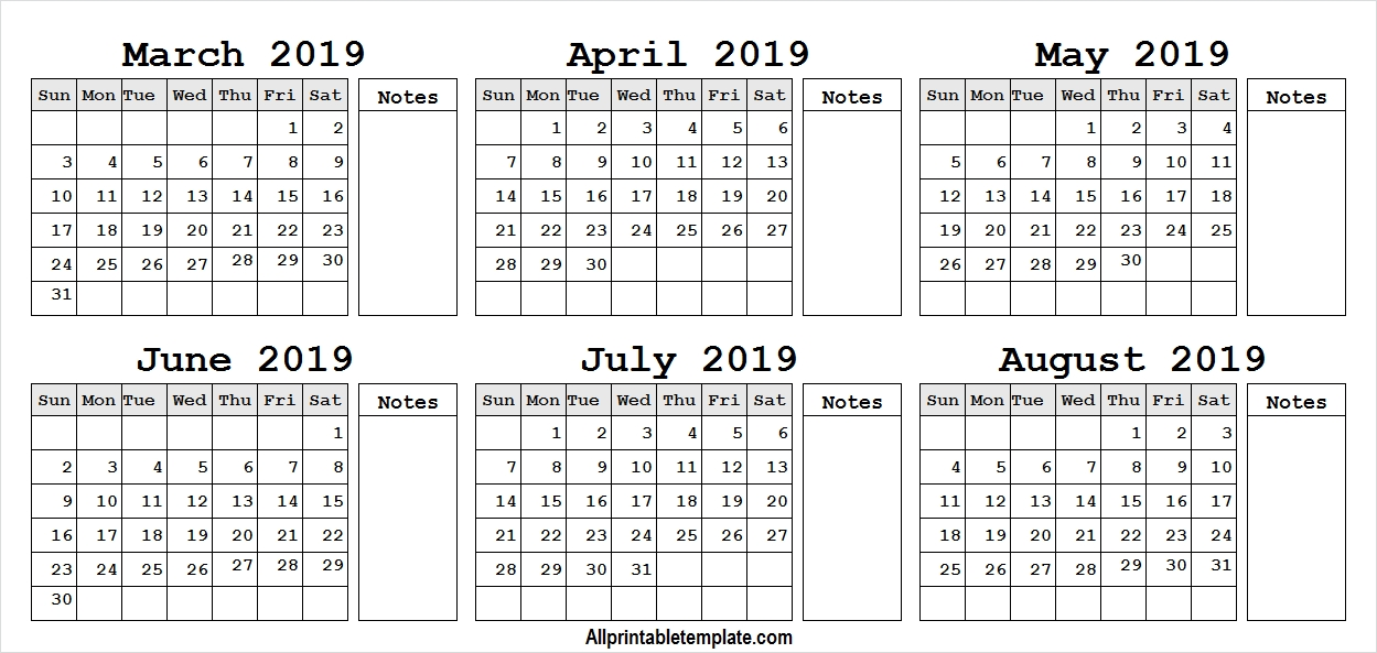 March April May June July August 2019 Calendar Template With Notes