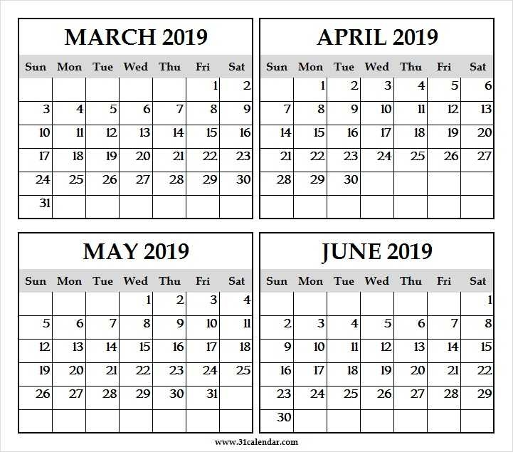 March To June 2019 Print Calendar Four Month Calendar Mar Jun 2019