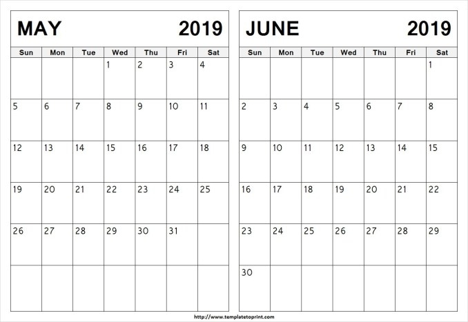 May And June 2019 Calendar 2 Months Printable Templates