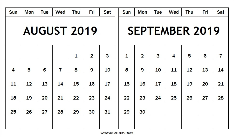 Printable August September Calendar 2019 30 Day Calendar