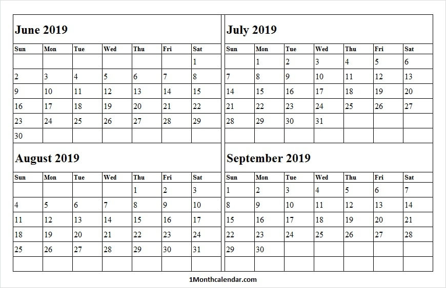 4 Month Calendar June September 2019 Calendar 2019 Blank