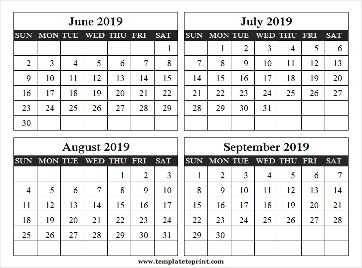 4 Month Calendar June September 2019 Template 4 Month Calendar