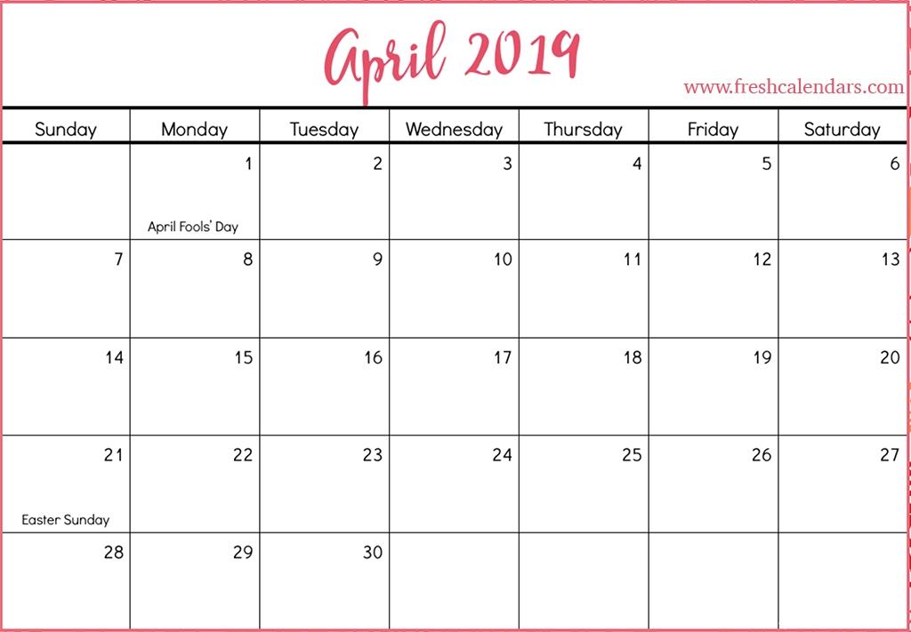 April 2019 Calendar Printable Fresh Calendars